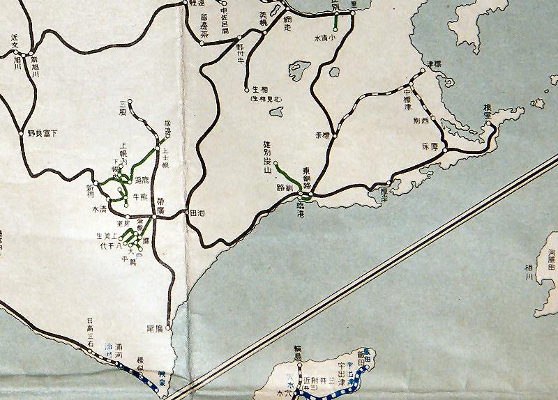 北海道の昭和9年鉄道路線図